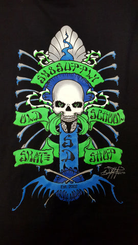 SK8SUPPLY Shop Logo T shirt Wes Humpston Art w/ GLOW in the Dark Skull - BLACK BLUE