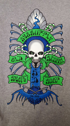 SK8SUPPLY Shop Logo T shirt Wes Humpston Art w/ GLOW in the Dark Skull - GREY BLUE