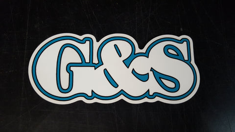 G&S Gordon And Smith Large Letter logo sticker - WHITE TEAL 7.75""