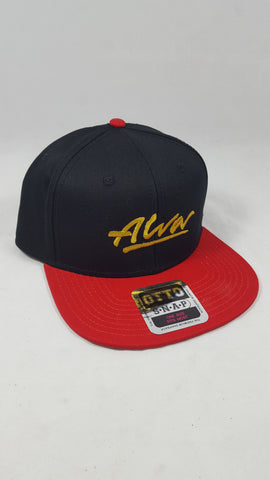 Alva Full Canvas Embroidered Snap Back hat - BLACK RED