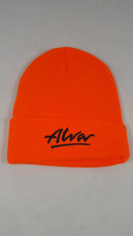 Alva Embroidered Beanie hat - ORANGE