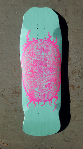 Patines Americanos skateboard deck LOCAL SKATE SHOP Fish shape - TURQUOISE PINK FADE
