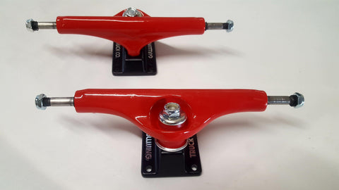 Gullwing Shadow Skateboard Trucks - BLACK RED (PAIR) 9""