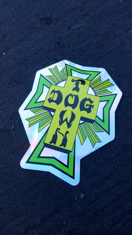 Dogtown CROSS STICKER - GREEN FOIL 4""