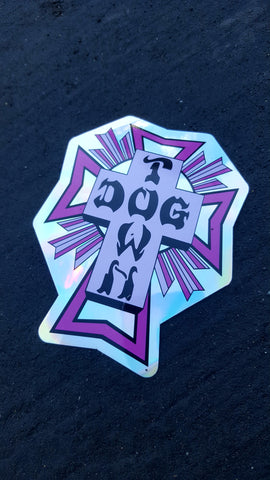Dogtown CROSS STICKER - PURPLE FOIL 4""