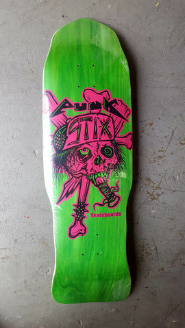 Punk Stix Punk-Lac Zorlac Tribute Skateboard Deck - GREEN (OG shape)