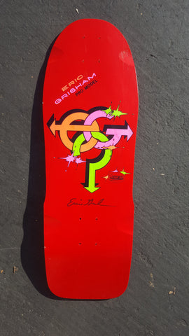 Vintage early 80s SIGNED Sure Grip ERIC GRISHAM Skateboard Deck - RED