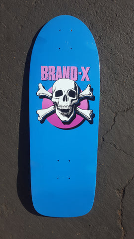 Vintage early 80s BRAND X KNUCKLE HEAD Skateboard Deck - BLUE