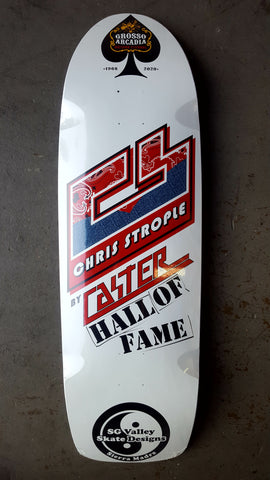 Caster CHRIS STROPLE H.O.F. GROSSO Tribute skateboard deck - WHITE Signed!