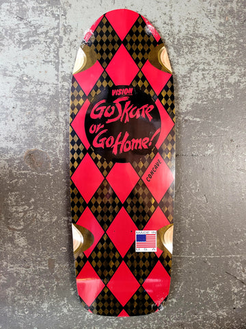 Vision GO SKATE OR GO HOME reissue skateboard deck - RED on OLIVE STAIN