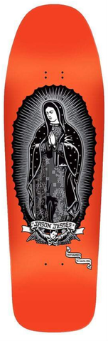 *Preorder*  Santa Cruz Jason Jessee Guadalupe reissue skateboard Metalic Silver on Neon ORANGE