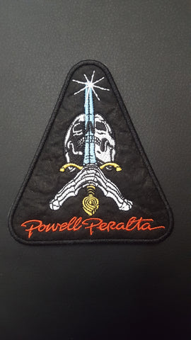 "Powell Peralta SKULL AND SWORD logo PATCH 4.5"" BLACK"