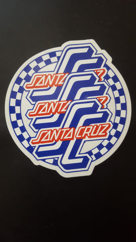 Santa Cruz Classic CHECKERED CIRCLE sticker 4""