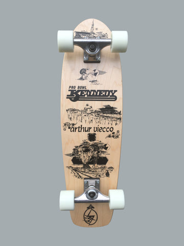 Pool King Arthur Viecco complete skateboard deck - NATURAL