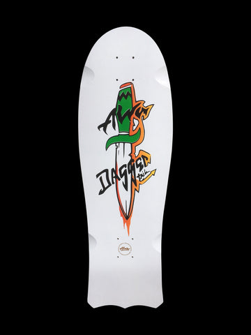 1985 Alva Dagger Tail reissue skateboard deck - WHITE