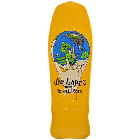 Schmitt Stix JOE LOPES CRYSTAL BALL reissue Skateboard Deck - YELLOW