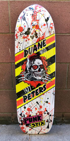 Punk Stix Duane Peters Skateboard Deck - ORANGE YELLOW SPLATTER