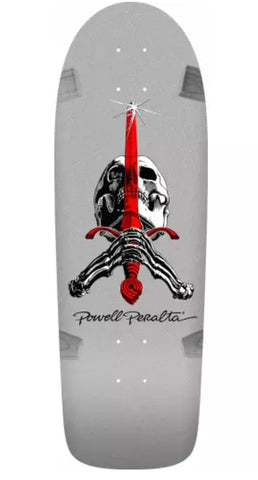 Powell Peralta Skull and Sword reissue Skateboard deck- SILVER