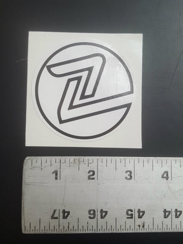 "Z Flex Sticker (3"" round white / black Z)"