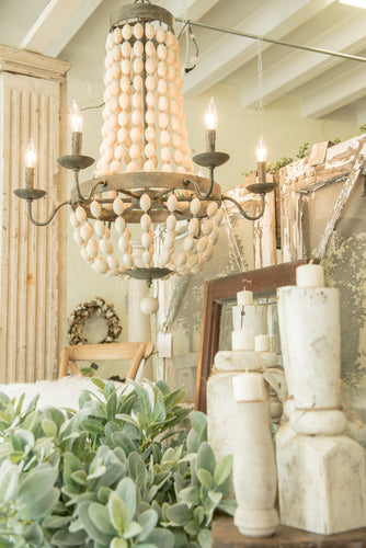 White Beaded Metal and Wood Chandelier