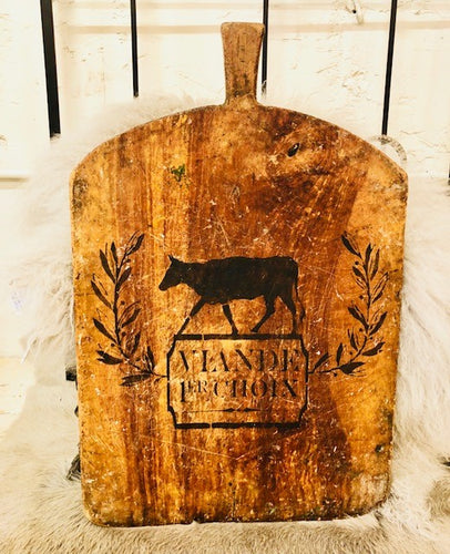 Large Square Bread Board With Cow Stenciling