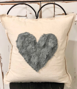 Canvas Pillow With Heart Accent