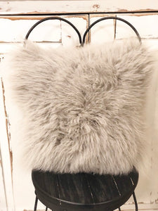 Mongolian Fur Pillow Grey