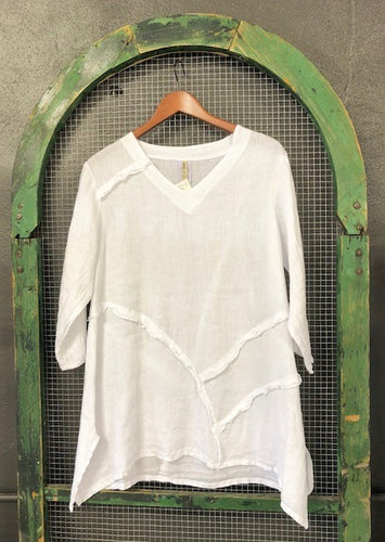 Linen Tunic Top In White