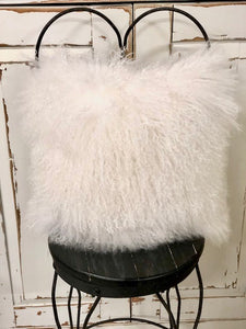 Mongolian Fur Square Pillow White