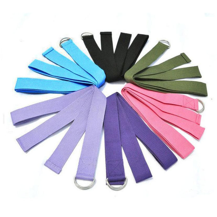 New Yoga Stretch Strap D-Ring Belt Waist Leg Fitness 180CM Adjustable