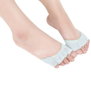 Women Invisible Yoga Gym Backless Toe Socks Half Grip Heel Five Finger Socks
