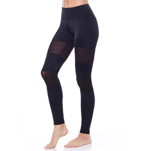 New Middle-Waisted Sexy Skinny Yoga Leggings Women Patchwork Mesh Push Up Yoga Pants for Women