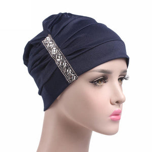 Sequins Women Hat Beanie Scarf Turban Head Wrap Cap