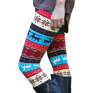 Casual Women Lady Skinny Xmas Deer Print Stretchy Jegging Pants Slim Leggings