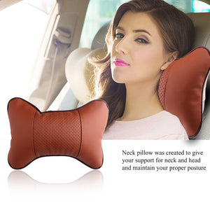 High Quality PU Leather Car Neck Pillow Memory