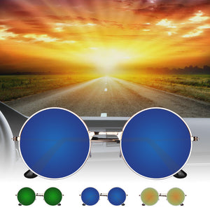 Vintage Round Mirror Metal Frame Sunglasses for Sports at Affordable Price