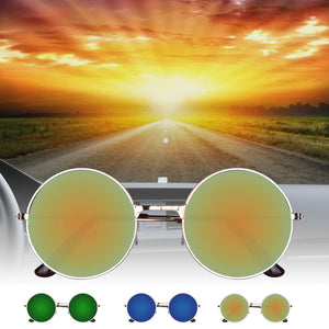 Vintage Round Mirror Metal Frame Sunglasses for Sports at Discounted Price