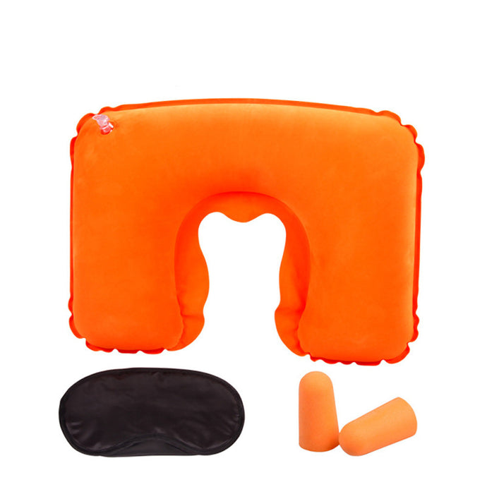 Inflatable Travel Pillow Air Cushion Neck and U-Shaped Compact Plane Set