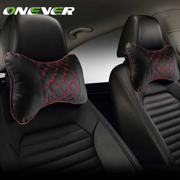 Car Leather Neck Pillow Pad Auto Headrest