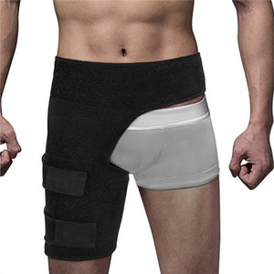 Groin Wrap Support Adjustable Groin Strain Pain Wrap Hamstring Support Brace One Size Fits Most Neoprene Brace with Stick Strap Fastener Slip Resistant for Men Women