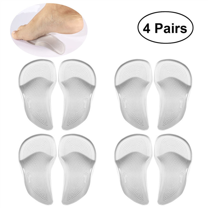 ETEREAUTY 4 Pairs Arch Support Insoles Cushions PU Gel Feet Arch Support Pads Inserts for Shoes
