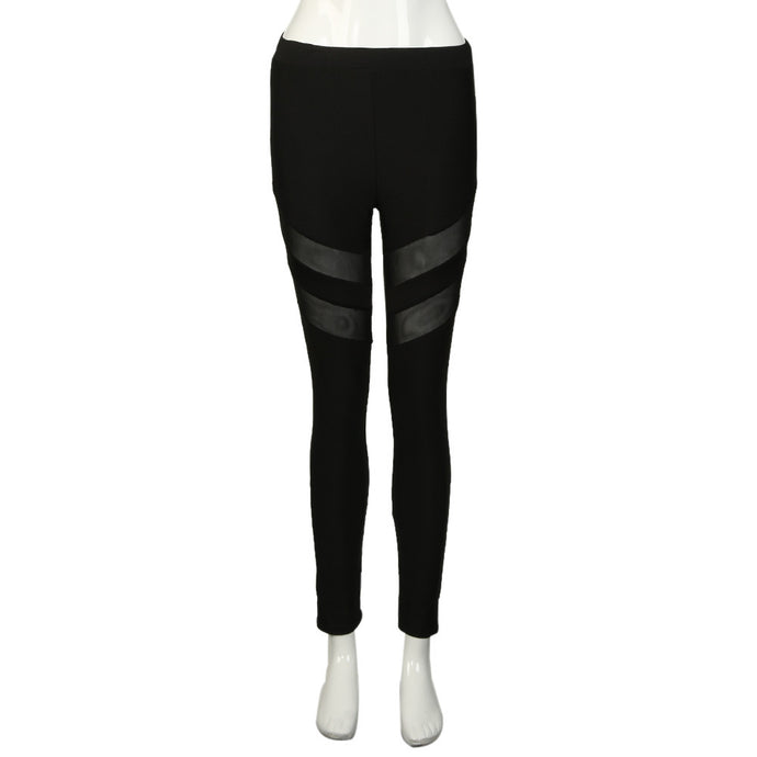 Women Yoga Pants Middle-Waisted Sexy Skinny Leggings Patchwork Mesh Push Up Fitness Athletic Pants #E5