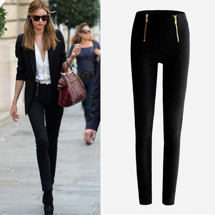 Lady Zip Pencil Pants High Waisted Stretch Leggings Trousers Pants BK/S