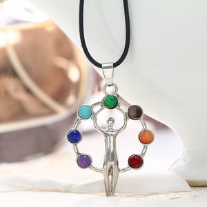 1x Energy Mix 7 Resin Beads Chakra Healing Point Pendant for Necklace Yoga Reiki