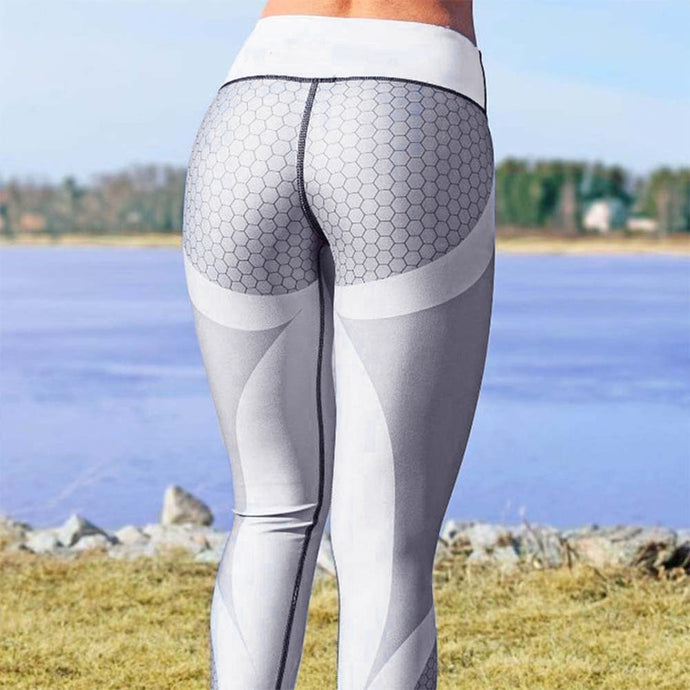 Women's 3D Print Yoga Skinny Workout Gym Leggings Sports Training Cropped Ankle Length Pants