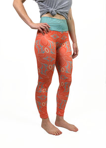 Lotus Floral Yoga Leggings