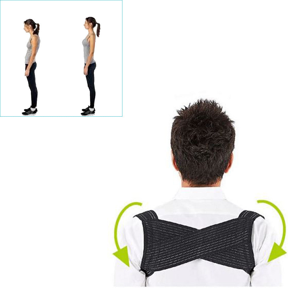 Adjustable Posture Corrector Corset Back Brace Relieves Neck Back and Spine Pain Improves Posture (Black,White)