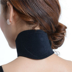 Neck Brace Magnetic Therapy Tourmaline Belt Support Self Heating Neck Support for Pain Relief Migraines (Black)