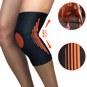Compression Knee Brace Injury Recovery Training Knee Pads for Riding Running and Joint Pain Relief (Black and Orange)