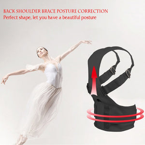 Back Support Shoulder Brace Band Adjustable with Magnetic for Posture Correction Relieves Back Pain
